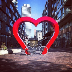 Photo Credit: @amegoev | A photo of the 'Love' sign in the Distillery District, Toronto.